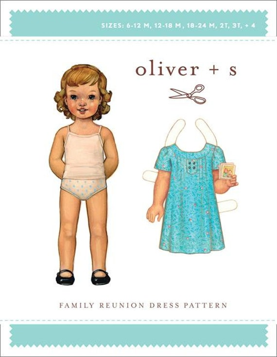 Girls Dress Pattern / Oliver +s Pattern / Button Back / Short Sleeve / Pintuck Front and Back / Family Reunion Dress