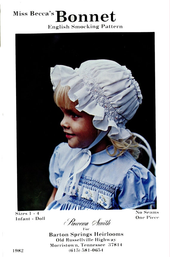 Smocked Bonnet / Vintage / Vintage Bonnet / Smocked Mop Cap / No Seams-Only 1 Piece / Size 1-4, Infant & Doll / Only 1 Available