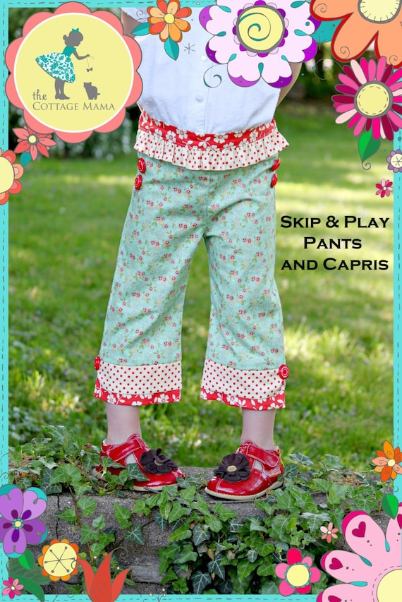 Girls Pants / Pattern / Slim Fit / Flat Front Waistband / Elastic Back  / Cuff Variations / Cottage Mama / Skip and Play Pants / Olive Ann