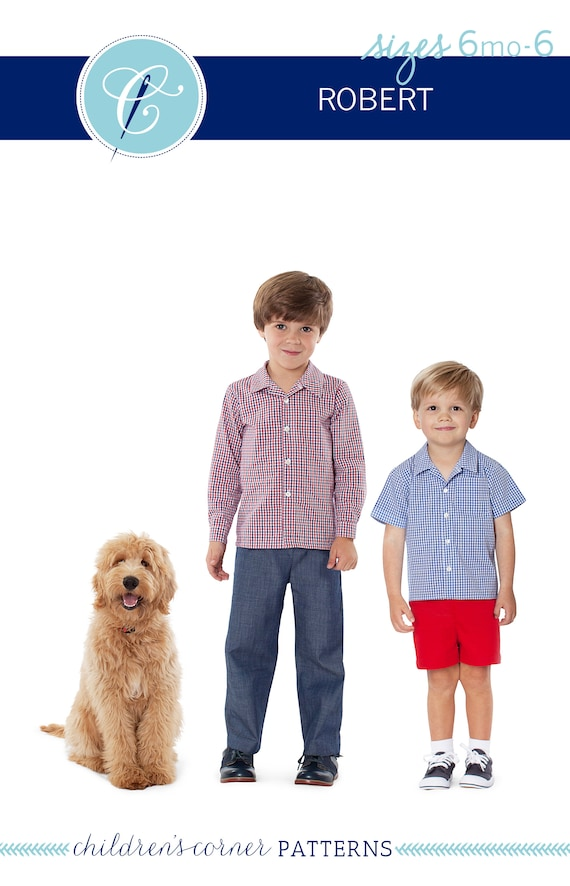 Button-down Shirt / Flat Front Shorts or Pants / Front Chest Pocket / Open Revere Collar / Childrens Corner / Robert Pattern / Boy's / 297