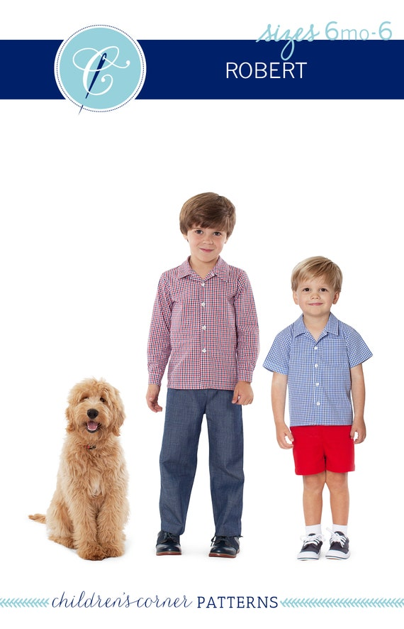 Button-down Shirt / Flat Front Shorts or Pants / Front Chest Pocket / Open Revere Collar / Childrens Corner / Robert Pattern / Boy's / 297