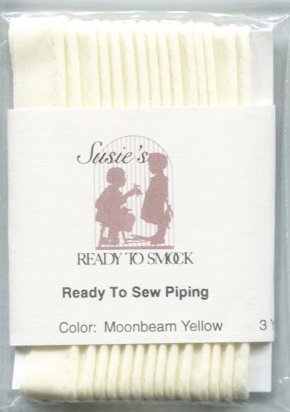 """Pale Yellow Mini Piping by the Yard / Doll Clothes / Heirloom Sewing / Piping for Childrens Clothes /  Cording 1/8"""" / Overall width .5"""""""