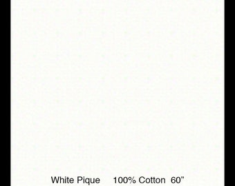 """Pique  Fabric / White Pique / Dress Fabric / 100% Cotton / 60 Inches Wide / Pleats for Smocking / 60"""" wide / by Fabric Finders"""