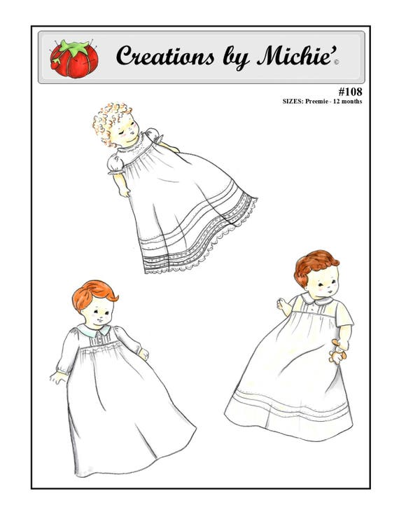 Infant Daygown / Smocked Daygown / Boys or Girls / Christening Gown/ Preemie Gown / Tucked Bodice / by Creations by Michie #108
