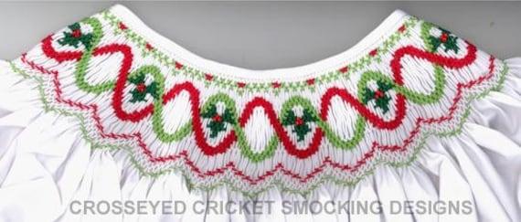 Smocking Plates / Picture Smocking /Holiday Flip /  Bishop Dress / Smocked Christmas Dress / Smocked Romper / CEC Smocking Plates
