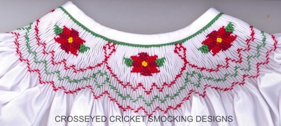 Christmas Smocking Plates /Smocking /Smocked Dress / Bishop Dress / Smocking Design / Christmas Dress / Smocked Romper /  Cross Eyed Cricket