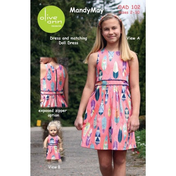 Girls Dress Pattern / Easy / Pre-Teen / Exposed Zipper Option / Matching Doll Dress/ Olive Ann/ OAD102