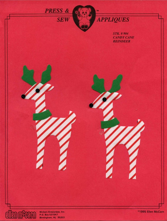 Iron on Appliqué / Press & Sew Appliqué / Christmas Appliqué  /  Reindeer  / Easy Christmas Outfit / Candycane Reindeer by Ellen McCarn