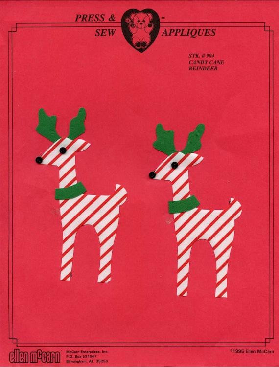 Iron on Appliqué / Press & Sew Appliqué / Christmas Appliqué  /  Reindeer  / Easy Christmas Outfit / Candycane Reindeer by Ellen McCarn