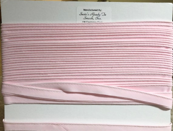 "Pink Mini Piping / Doll Clothes / Heirloom Sewing / Piping for Childrens Clothes / Mini-Piping / Cording 1/8"" / Overall width .5"""
