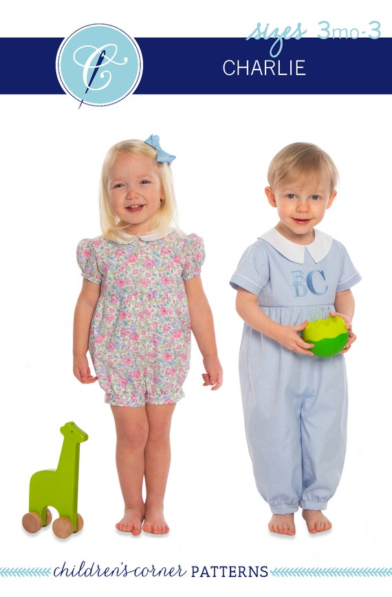 Childrens Corner / Charlie Pattern / Bubble / Romper / Multiple Sleeve Options /  Two Collars / Long or Short Length / Button Back /