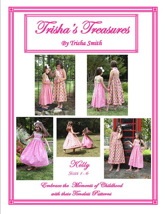 Sundress Pattern / Kelly Pattern / Easy / Twirly Dress / Cross Over Straps / Summer Dress / Halter Dress / Trisha's Treasures.