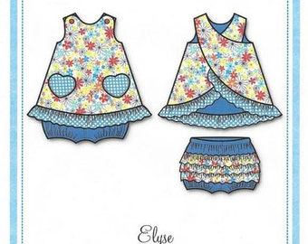 Summer Top / Top With Cross-Over Back / Ruffled Panties / Girls Top / Bonnie Blue