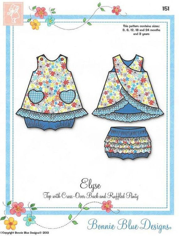 Summer Top / Top With Cross-Over Back / Ruffled Panties / Girls Top / Elyse / Bonnie Blue