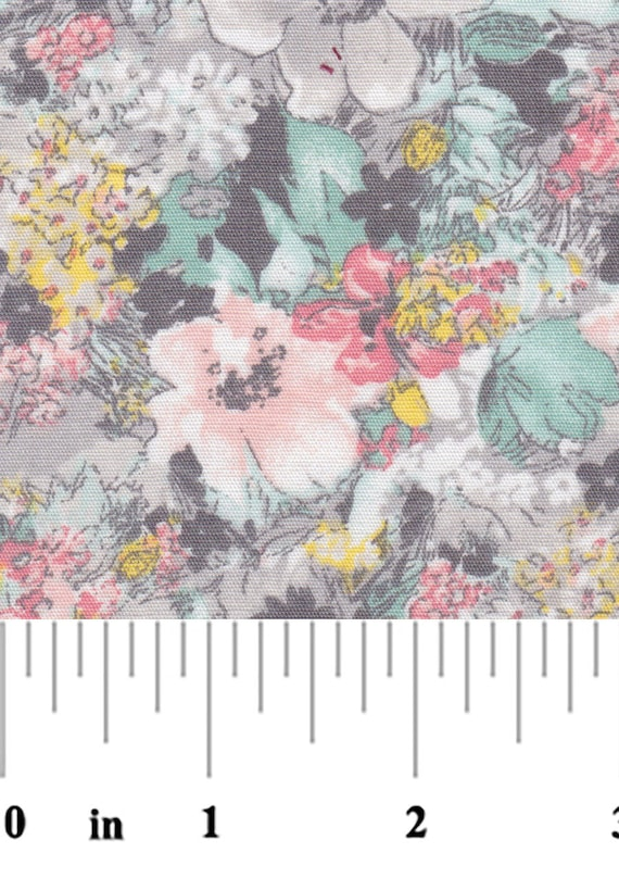 "Floral Print Fabric / Grey and Coral Floral Print / 100% Cotton / 60"" Wide / Fabric Finders 2186"