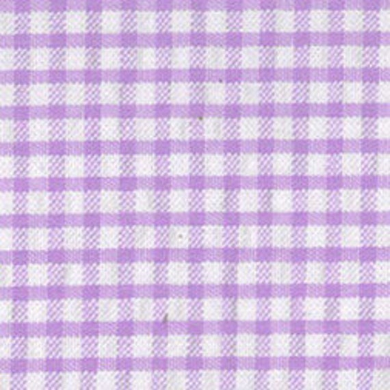 "Lavender Check Seersucker Fabric / Gingham Seersucker / by Fabric Finders 60"" Wide"