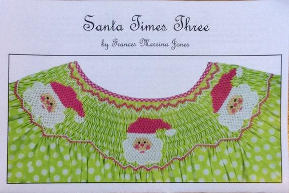 Christmas Smocking Plates / Geometric Smocking /Santa Times 3 / Smocked Bishop Dress  / Smocked Romper / Easy / CEC Smocking Plates / 273