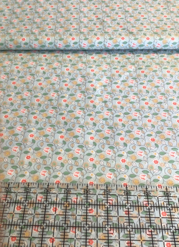 """Fabric / Small Vine Print / Smocking Fabric / Dress Fabric / Quilt Fabric / Doll Clothes / Mask Fabric / 100% Cotton / 60"""" W / FF 672 /"""