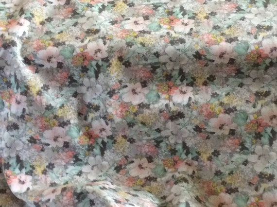 """Floral Print Fabric / Grey and Coral Floral Print / 100% Cotton / 60"""" Wide / Fabric Finders"""