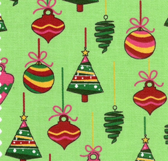 Christmas Fabric / Christmas Ornaments / Green Print Fabric / from Fabric Finders