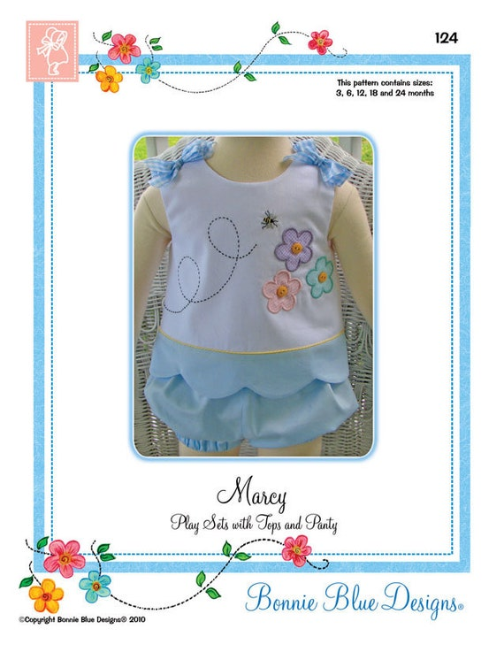 Summer Play Set / Easy to make summer time play sets.  / Matching Panties / Girls Top / Appliqué Patterns Included / Marcy / Bonnie Blue