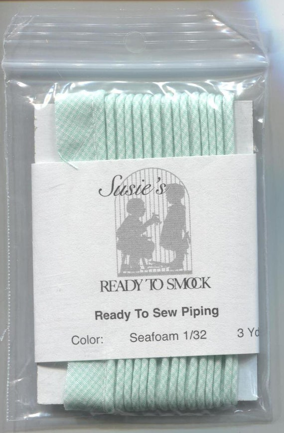 "Seafoam Gingham Mini Piping / 3 Yard Package / Maise / Piping for Childrens Clothes / Doll Clothes / Cording 1/8"" / Overall width .5"""