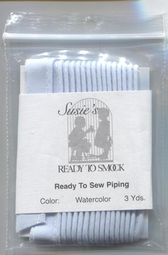 """Blue Mini Piping / Watercolor Blue Piping / 3 Yard Package / Piping for Childrens Clothes / Mini-Piping /  Doll Clothes / Cording 1/8"""""""
