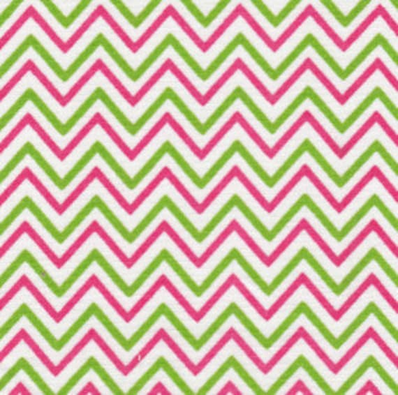 Chevron Fabric / Pink and Green Chevron Fabric / Cotton Fabric / 60 Inches Wide /End of Bolt 1.33 yard piece remaining