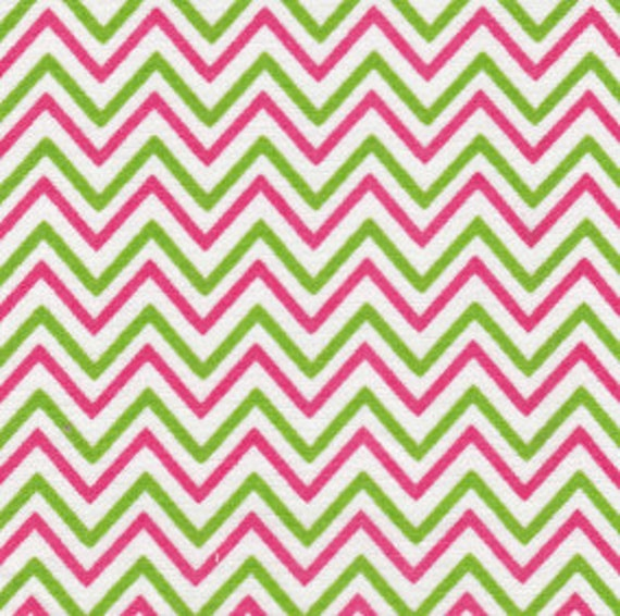 Chevron Fabric / Pink and Green Chevron Fabric / Cotton Fabric / 60 Inches Wide / Sewing Fabric / Quilting Fabric / from Fabric Finders 1471