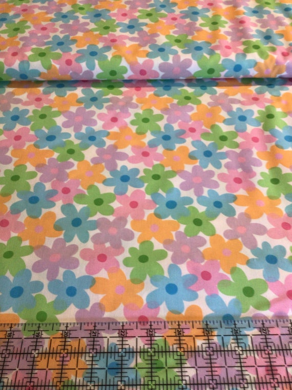 """Fabric / Multicolored Flowers / Pique / Smocking Fabric / Dress Fabric / Quilt Fabric / Shorts / Mask Fabric / 100% Cotton / 60"""" W /"""