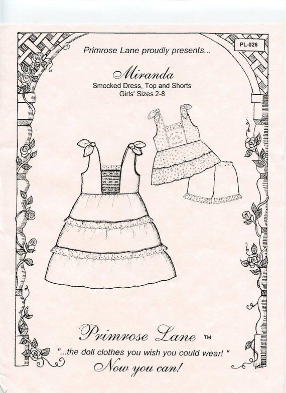 Dress Pattern /  Smocked  / Top and Shorts / Girls  / Smocked or Embroidered Inset / Miranda  by Primrose Lane