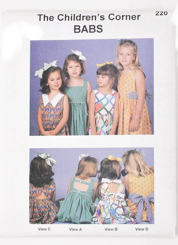 Vintage Pattern / Babs Pattern / Girl's Sundress / 4 Variations / Keyhole Back / Multiple Necklines / Childrens Corner Pattern / 220