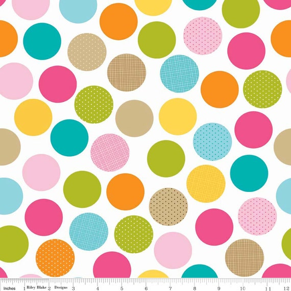 Cotton Fabric / Large Dots / Multi Colored Dots / From Riley Blake Fabric  C3621