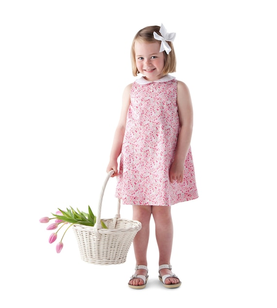 Girls Dress Pattern / Swing Sundress / Adjustable Fullness / Lined / Optional Collar / Jumper / Childrens Corner / Frannie / 238