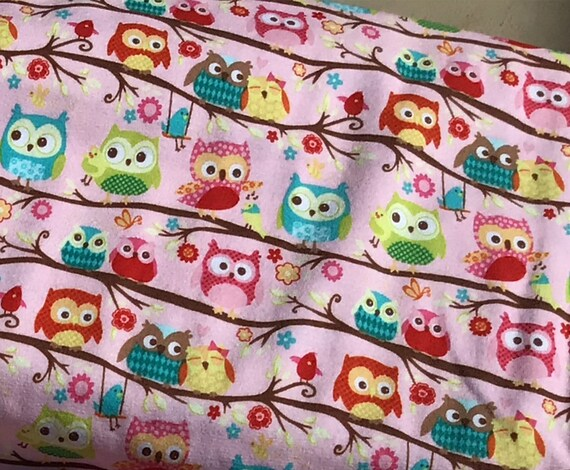 Knit Fabric / Happy Flappers / Cute Owls on Pink Background / 95% Cotton / 5 Spandex / Riley Blake