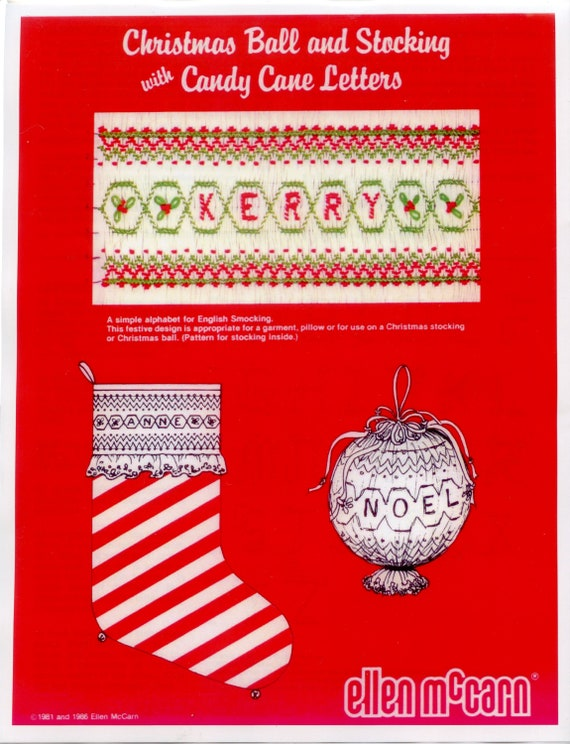 Smocked Christmas / Smocked Christmas Ornament / Smocked Stocking / Candy Cane Letters / Smocking Plate / Detailed Instructions
