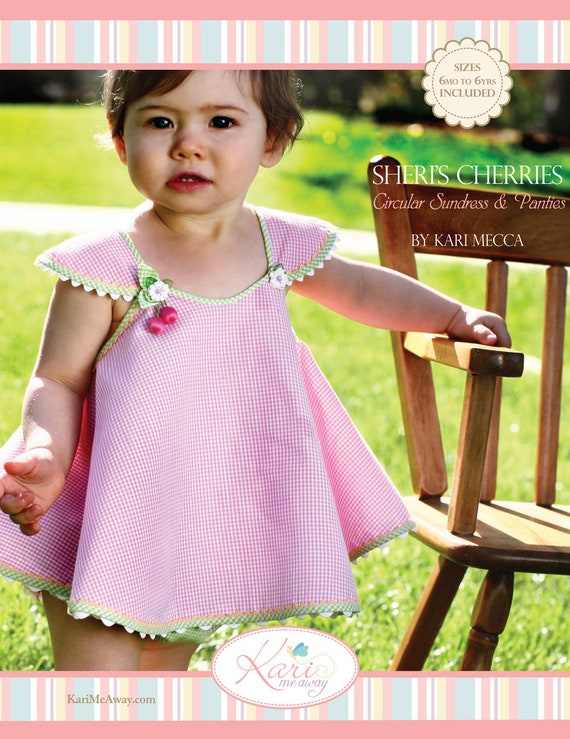 Sundress Pattern / Circular Sundress / Rickrack Flowers / Lined Bloomers / 3 Pattern Pieces / Bias Trim / Sheris Cherries / Kari Mecca