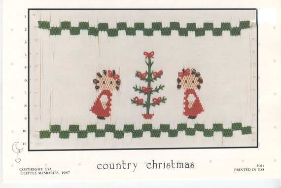 Christmas Smocking Plates /Smocking / Smocked Dress / Vintage Smocking Design / Christmas Dress / Smocked Romper / Country Christmas