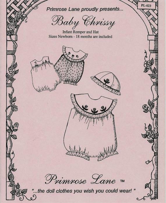 Baby Chrissy Pattern / Sleeveless / Square Yoke / Optional Round Collar / Matching Hat / Embroidery Pattern Included /  Primrose Lane /