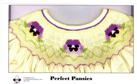 Smocking Plates / Perfect Pansies / Smocked Bishop Dress  / Smocked Romper  / CEC Smocking Plates / 246