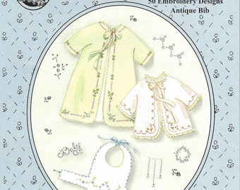 Baby's Sacque & Wrapper Pattern /  50 Embroidery Designs / Antique Bib Pattern / Layette / Jeannie Baumeister/ The Old Fashioned Baby / OF33