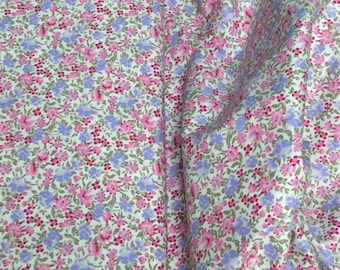 "Fabric / Small Print / Floral Print / Smocking Fabric / Dress Fabric / Quilt Fabric / Doll Clothes / 100% Cotton / 60"" W / Fabric Finders /"