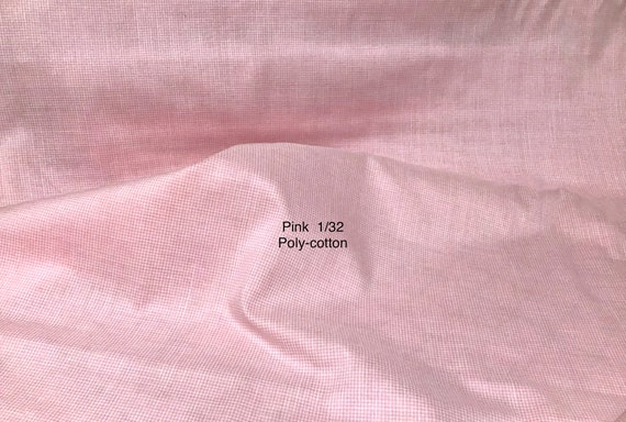 "Gingham Fabric / Pink Micro Poly-Cotton Gingham / Permanent Press / No-Iron Gingham / 1/32 Gingham / Spechler-Vogel / Vintage / 45"" Wide"