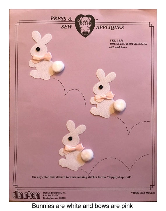 Iron on Appliqué / Press & Sew Appliqué / Bouncing Bunnies Applique / Easy Easter Outfit /  Embroidery machine not required / Ellen McCarn