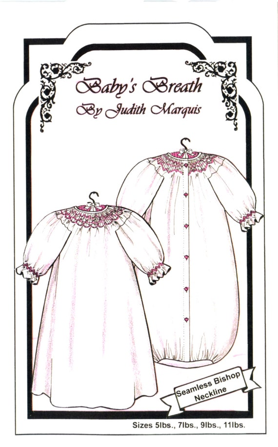 Smocked Baby Nightgown / Smocked Bunting / 3 Design Plates Included / Bishop / Unusual Set-in Sleeve / Baby's Breath / by Judith Marquis 23