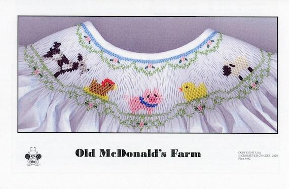 Smocking Plates / Old MacDonalds Farm / Smocking /Smocked Dress  / Smocked Romper / Smocked Animals / CEC Smocking Plates / 492