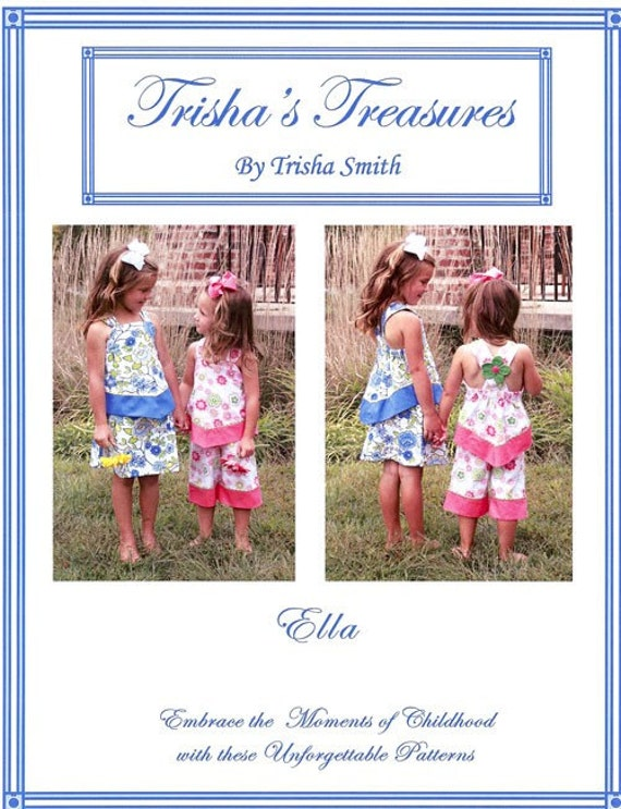 Ella Pattern / Skirt & Long Top Pattern / Ruffled Capri and Top Pattern /Criss Cross Straps / Elastic Waist / from Trisha's Treasures.