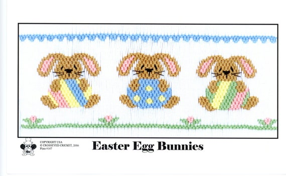 Easter Smocking Plates /Smocking /Smocked Dress / Easter Outfit / Smocked Romper / Smocking Plate / Easter Egg Bunnies / CEC Smocking Plates