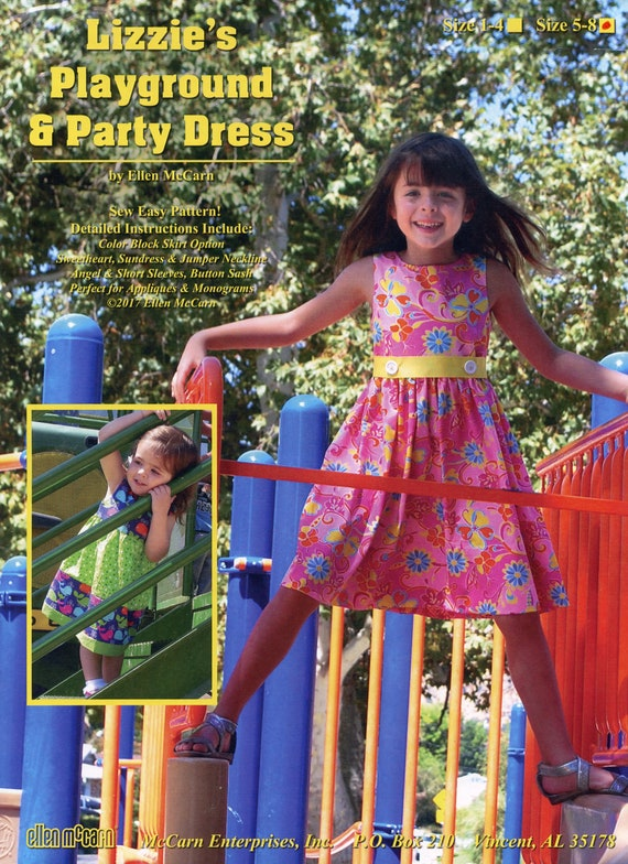 Girl's Party or Play Dress / Easy / Multiple Sleeve and Neckline Variations /  Monogram or Appliqué / Illustrated Instructional Booklet