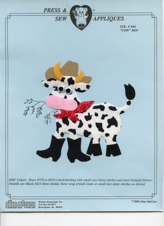 Iron on Appliqué / Press & Sew Appliqué / Cute Cow Applique / Boys /  Romper / Overalls / Embroidery machine not required / Ellen McCarn